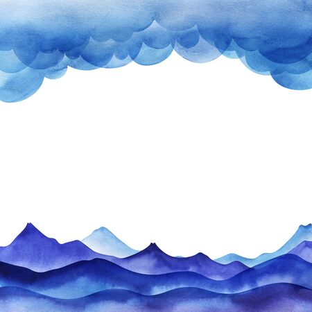 Page Design Template. Cartoon sky of blue cumulus clouds. Illustration. Blue valley with mountain ranges. Collage of gradient fill. Layout with upper and lower borders. Hand drawn isolated on white