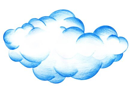 Large magnificent blue cumulus cloud. Hand-drawn pencil illustration on a white background. Stok Fotoğraf
