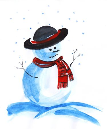 Snowman in a black hat with a red ribbon and a red scarf. Hands sprigs, falling snow. Hand drawn watercolor christmas illustration.