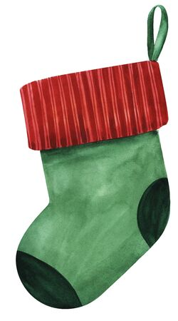 hristmas sock on the petal ribbon. Green sock with a red lapel. Strokes ornated. Sock on the fireplace for sweets. Template background for text. Hand drawn illustration isolated on white background