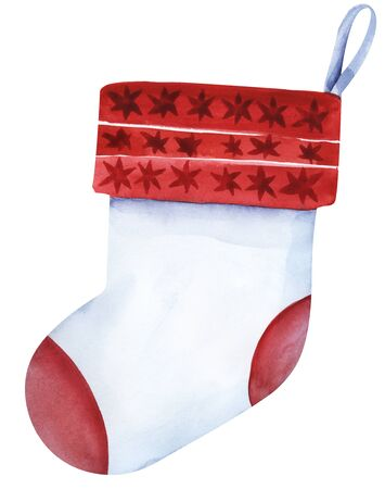 Christmas sock on the petal ribbon. White sock with a red lapel. Sock on the fireplace for sweets. Template background for text. Hand drawn illustration isolated on white background.