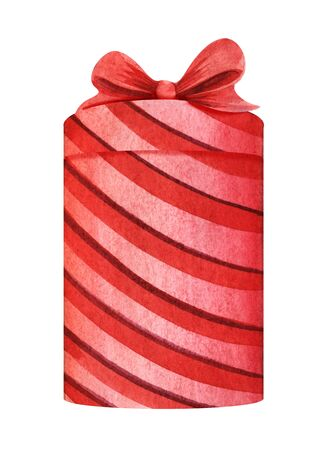 Red pink striped box with a lid and bow. Holiday gift box Christmas present. Souvenir for valentines day. Hand drawn watercolor illustration isolated on white background.