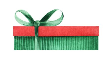 Green striped box with a red cap and green bow. Holiday gift box Christmas present. Hand drawn watercolor illustration isolated on white background. Stok Fotoğraf