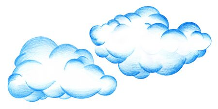set of tow decorative elements. Large magnificent blue cumulus cloud. Hand-drawn pencil illustration on a white background.