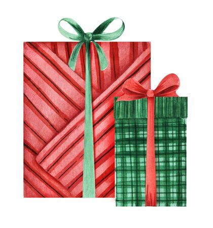 Two gift boxes with bows, covered with decorative paper. Red and green boxes. Christmas presents. hand-drawn watercolor illustration isolated on white background. Stockfoto