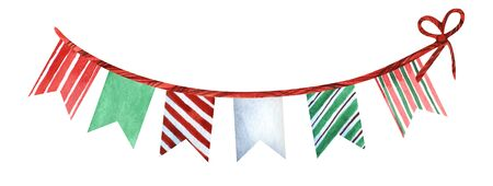 Festive classic paper flags. Decor in red and green colors. Christmas. Decorative elements. Hand drawn watercolor illustration isolated on a white background.
