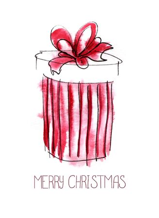 Christmas card. Red striped round gift box with a magnificent bow. Merry Christmas lettering. Hand drawn color sketch watercolor illustration.