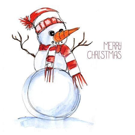 Christmas card. Snowman in a white and red striped hat with a red striped scarf. Hands twigs, ns carrots. Merry Christmas lettering. Hand drawn watercolor illustration. Stockfoto