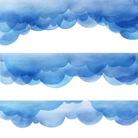 Three decorative elements. Blue lush fluffy cumulus clouds. Side page template. Cartoon sky illustration. Watercolor fills. Hand drawn isolated on a white background