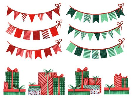 Set of festive decorative elements. Multi-colored paper flags on a ribbon and a pile of gifts. Red and green colors. Christmas decor. Gifts under the Christmas tree. Stok Fotoğraf