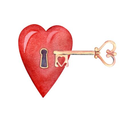 The key to the heart. Vintage golden heart shaped little key. Big red heart with keyhole. Decorative element. Hand-drawn watercolor illustration on a bright background