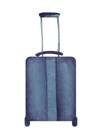 Watercolor image of blue suitcase on wheels with long handle. Hand drawn illustration of packed luggage isolatd on white background. Decorative element for scrapbooking
