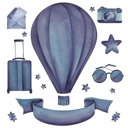 Set of elements on travel topic isolated on white background. Watercolor blue images of hot air baloon, suitcase, camera, sunglasses, open envelope with letter, stars and ribbon with place for text