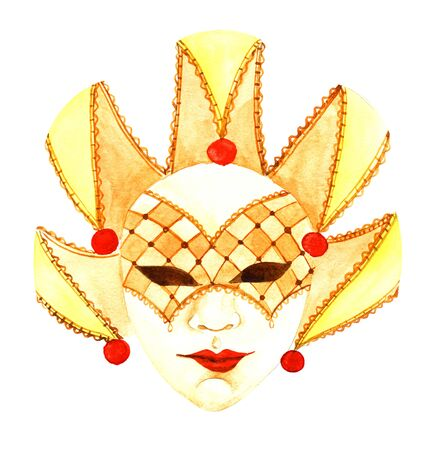 Watercolor harlequin masquerade mask of warm sunny shades isolated on white background. Yellow Venetian traditional mask with mysterious smile on red lips. Hand drawn attribute for costume parties