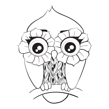 Cartoon owl sitting on tree branch isolated on white background. Cute bird with patterned body and feathers around big eyes in shape of flowers. Black and white vector illustration for coloring book