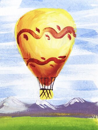 Watercolor brush stroke sketch of vivid yellow hot air balloon against serene landscape of distant mountains, green fields and gentle blue sky. Hand drawn illustration of romantic air craft