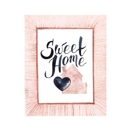 Watercolor illustration in pink frame of pink house with chimney and black heart in the middle. Hand-lettered calligraphy Sweet home in upper left corner. Handmade tender postcard on white background