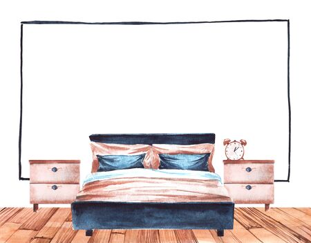 Watercolor bedroom interior of comfortable double bed, two bedsides with alarm clock on one of them. Rough wooden floor and empty white wall with big black frame. Watercolor bottom border template