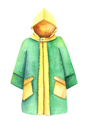 Watercolor image of yellow and green slicker isolated on white background. Autumn special clothes protecting from rain. Hand drawn illustration of rain coat. Decorative element for scrapbooking
