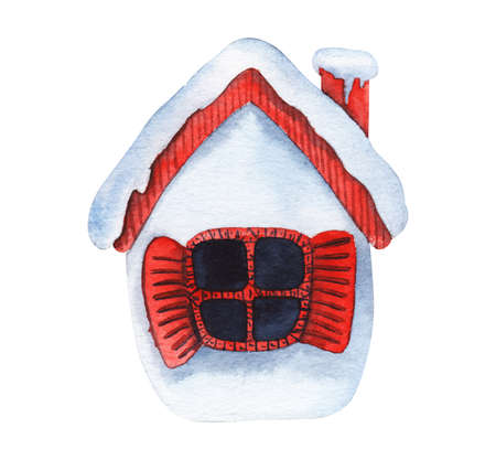 Watercolor image of cute toy house covered with snow isolated on white background. Cozy little home with red roof with chimney and open shutters. Hand drawn winter illustration