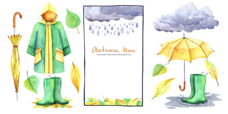 Watercolor decorative set of autumn illustrations isolated on white background. Thematic frame, waterproof costume, leaves and accessories. Fall mood. Hand drawn decorative elements