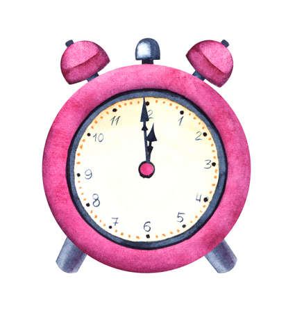 Watercolor image of nice pink table clock isolated on white background. Hand drawn illustration of classical alarm clock striking twelve of midnight or midday. Conceptual for New Year