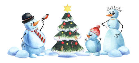 Watercolor image of cartoon snowmen family. Snowman dad with bullfinch on his arm, snowman mom wearing red necklace and their cute snowman baby in hat with pompom around Christmas tree. Holiday mood