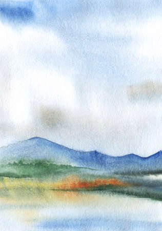 Abstract watercolor autumn landscape on textured paper. Blurry calm lake, vague silhouettes of thick woods and high mountains. Pure water surface reflects blue sky with fluffy white and gray clouds