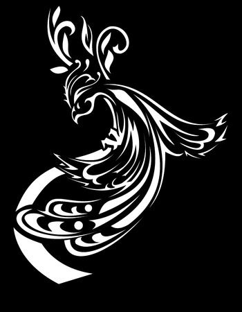 mythical phoenix bird: vector stylized beautiful Firebird black and white