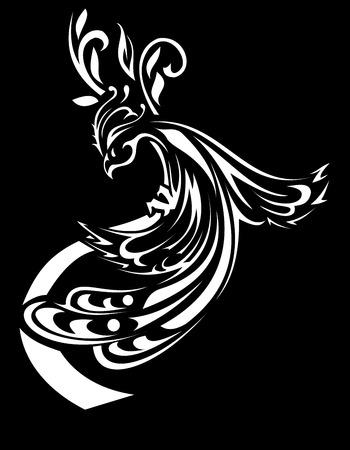 vector stylized beautiful Firebird black and white