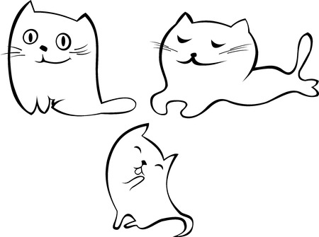 stylized white cute cats with different characters
