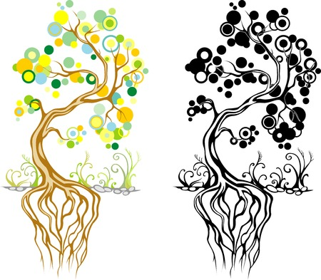 stylized green tree in color and black and white