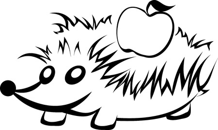 stylized hedgehog with apple in black and white