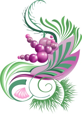 abstract plant with berries in gentle pastel colors