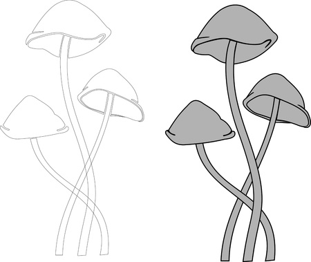 toadstool mushrooms vector gray and black and white