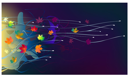 withering: autumn leaves in the wind on a dark background Illustration
