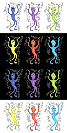 dance logo in different colors black and white background