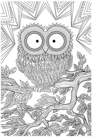 unique coloring book page for adults - joy to older children and adult colorists, who like line art and creation, vector illustration