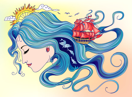 Illustration sea goddess girl with a hair out of the water