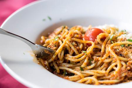Italian spaghetti in sauce bolognese