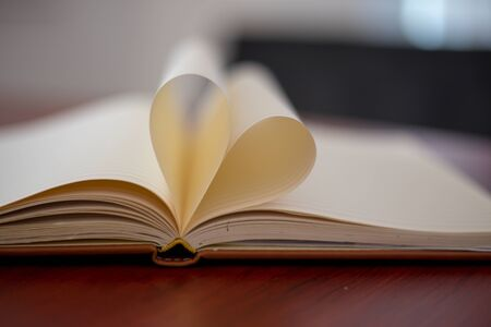 Heart from page of book concept with blurred bright light background and vintage tone