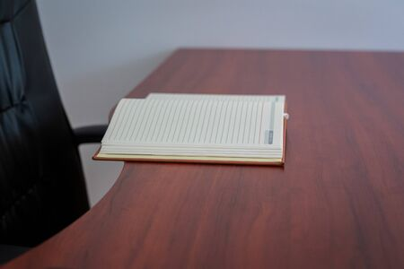 open notebook with blank pages