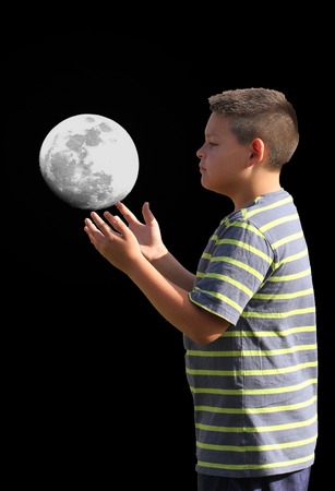 Grandson JJ is juggling the moon Banco de Imagens