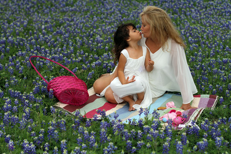 Easter tea party in blue bonnets with a kiss