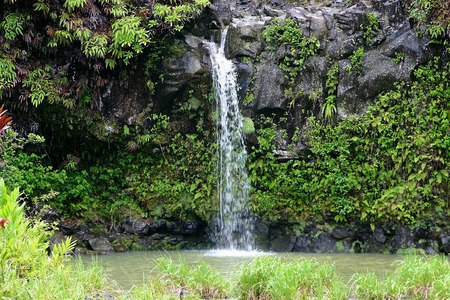 A small 15 foot falls on the Hana Highway in Hana, Maui, Hawaii