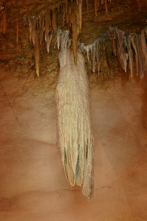 An oddity of cavern speleothem growths as this cross of stalagtites and cave bacon emulates a squid