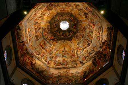 Interior of the dome of the Il Duomo in Florence Italy Editorial