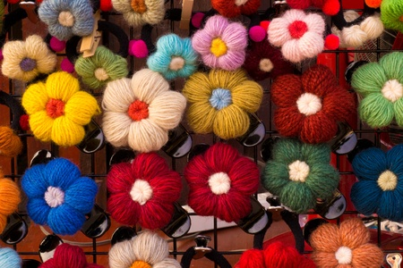 pin flowers   made from a yarn   photo