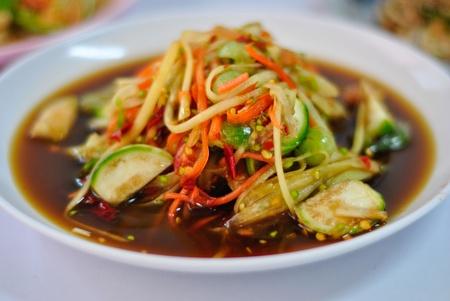 somtum: SomTum - Thai Green papaya salad  Stock Photo