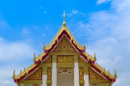 buddhist temple roof: beautiful Buddhist  temple roof in Loei, Thailand